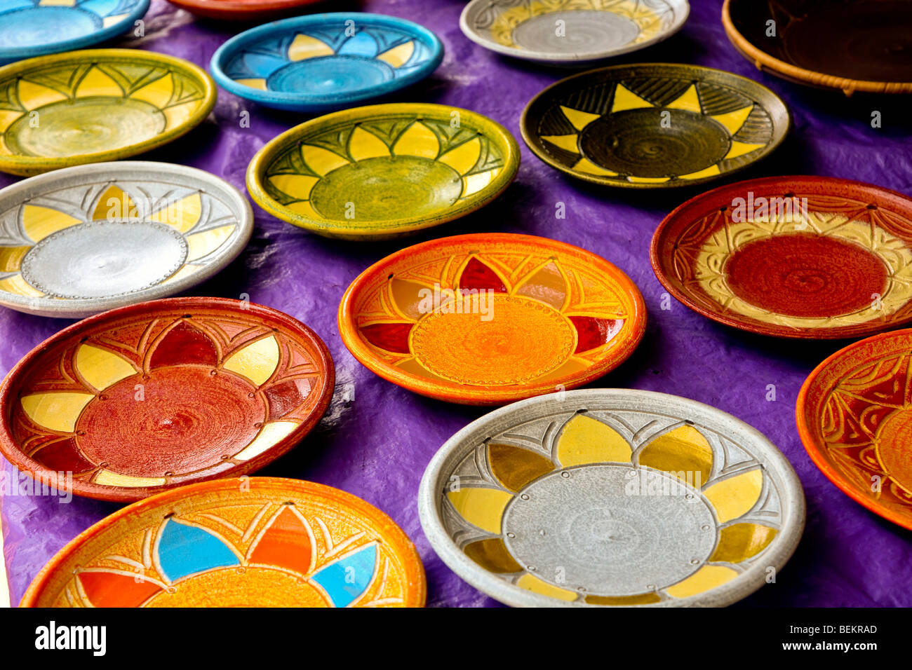 Colorful African Ceramic Plates at outdoor market in Accra Ghana & Colorful African Ceramic Plates at outdoor market in Accra Ghana ...