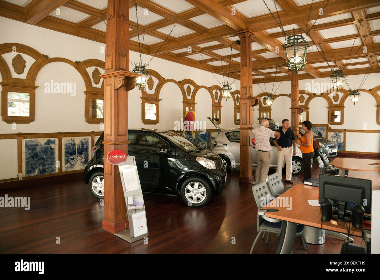 The Toyota car showroom in Funchal, Madeira,  which is in the former trade halls of the Chamber of Commerce - Stock Image