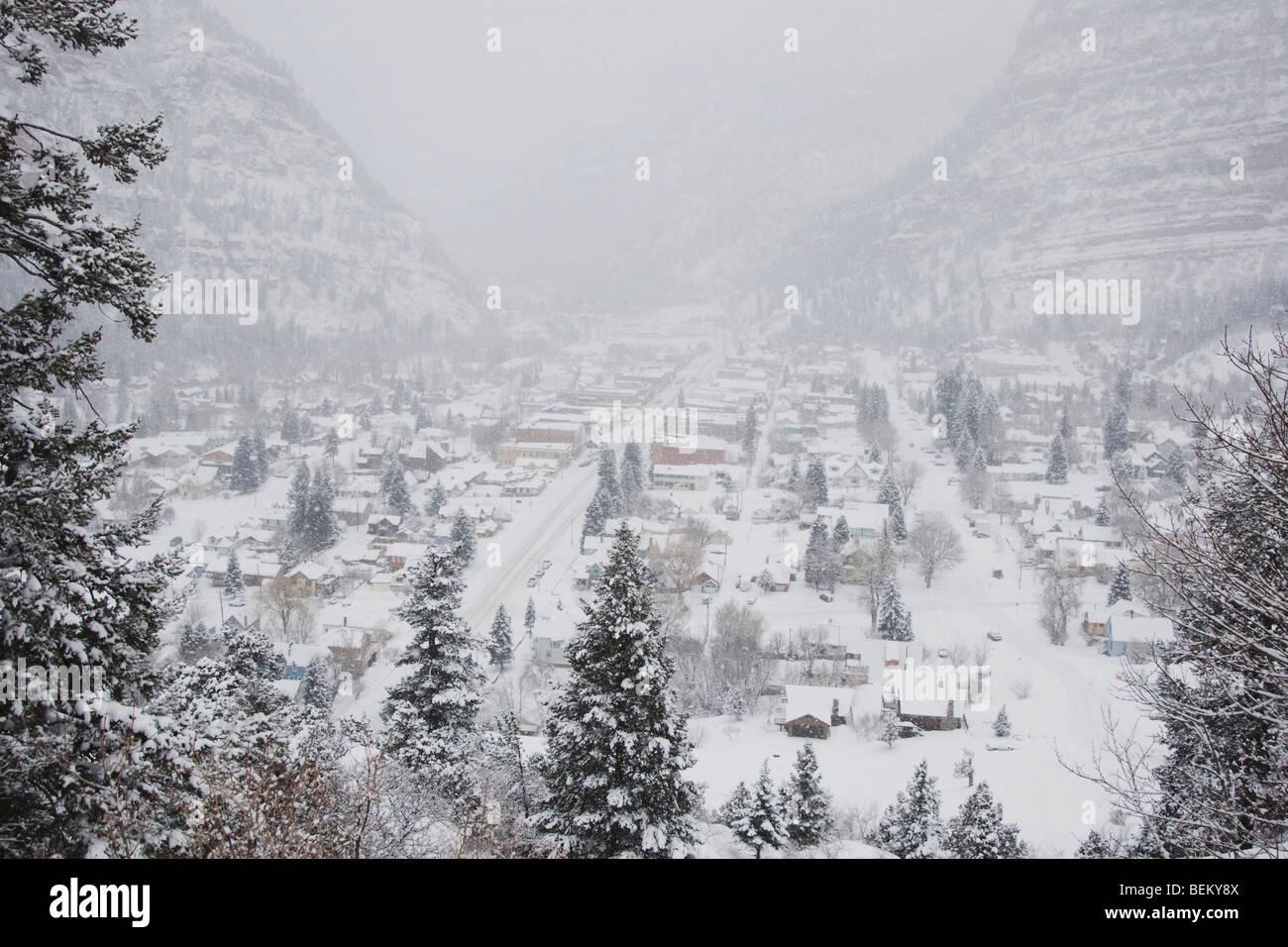 Ouray in winter, Ouray, Rocky Mountains, Colorado, USA - Stock Image