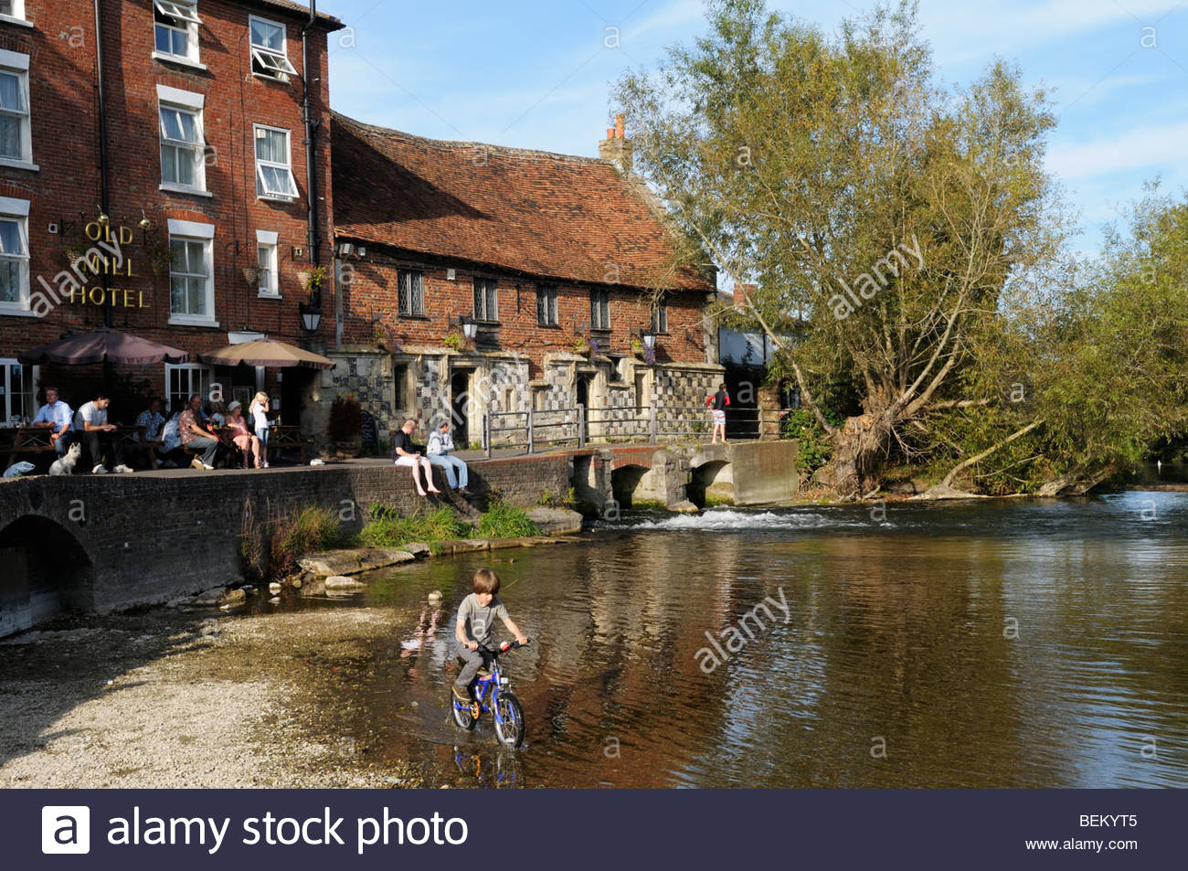 Sunny day view of the Old Mill Hotel, Salisbury, Wiltshire, England, UK Stock Photo