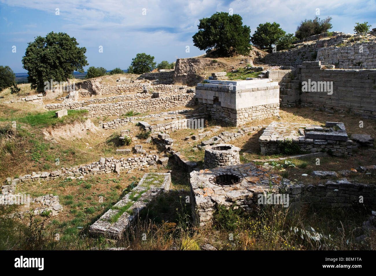 Archeological site of Troy, ruins of the ancient city of Troy, Turkey, Europe - Stock Image