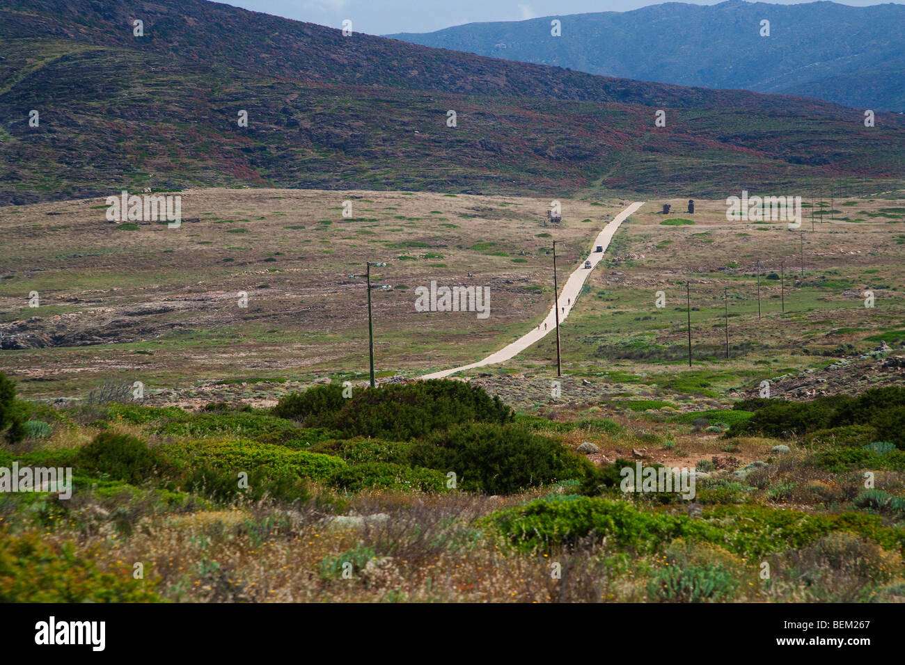 The only one road crossing the entire Island, Asinara Island, Asinara National Park, Sardinia, Italy, Europe - Stock Image