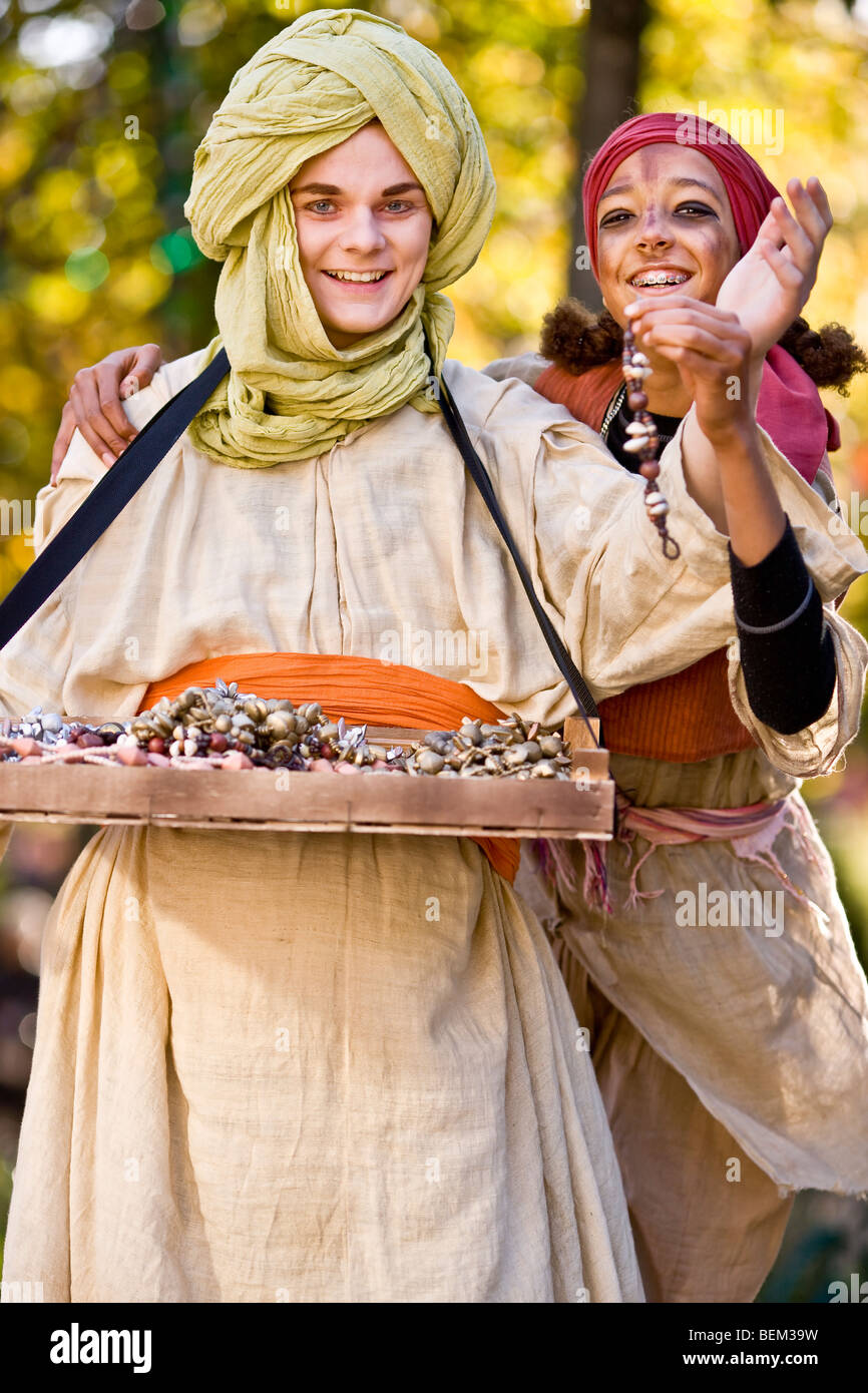 The street jewellery trader from the 1001 night fairytale the thief from Bagdad - Stock Image