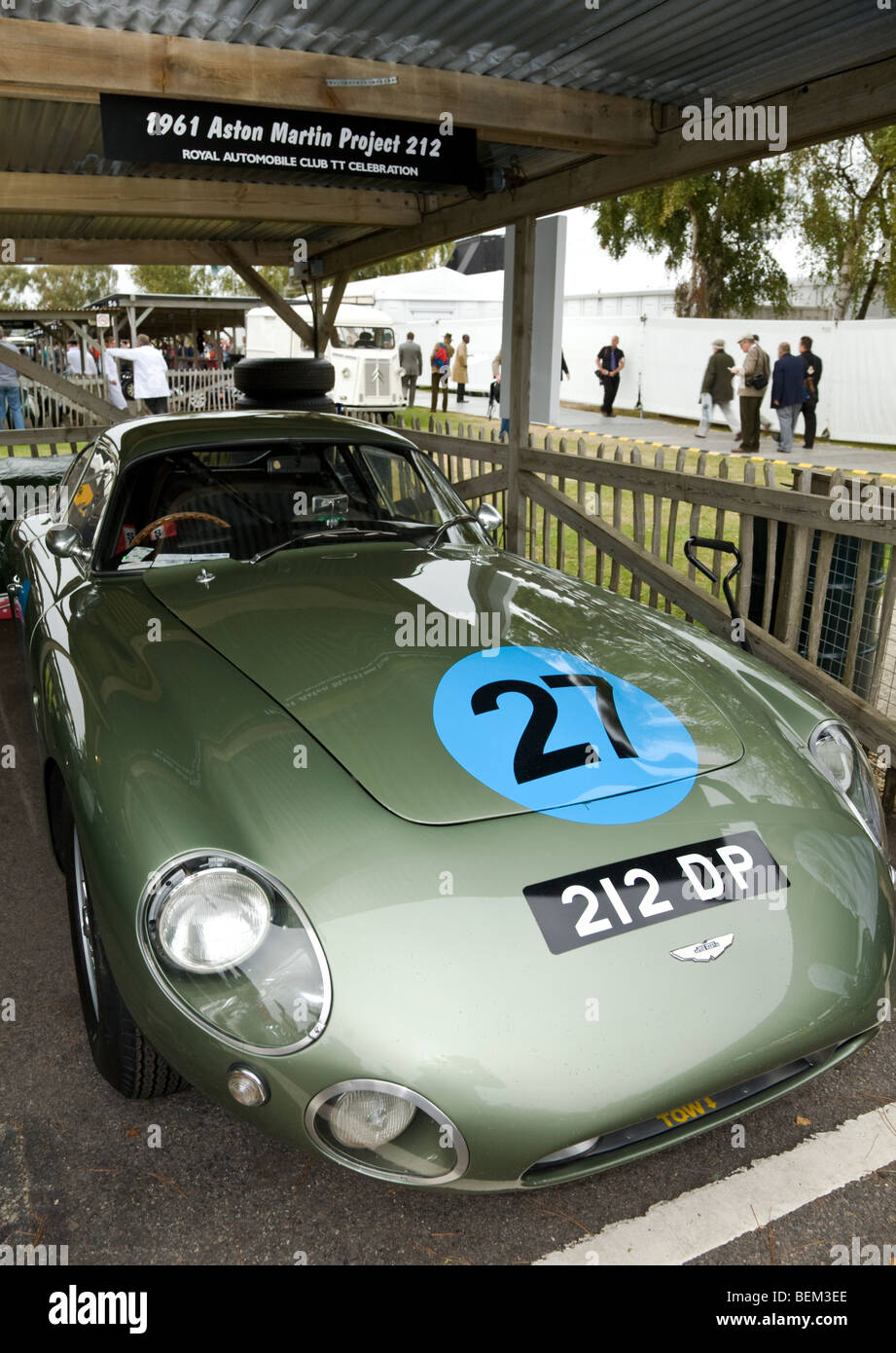 1961 Aston Martin Project 212 in the paddock at the Goodwood Revival meeting, Sussex, UK. - Stock Image