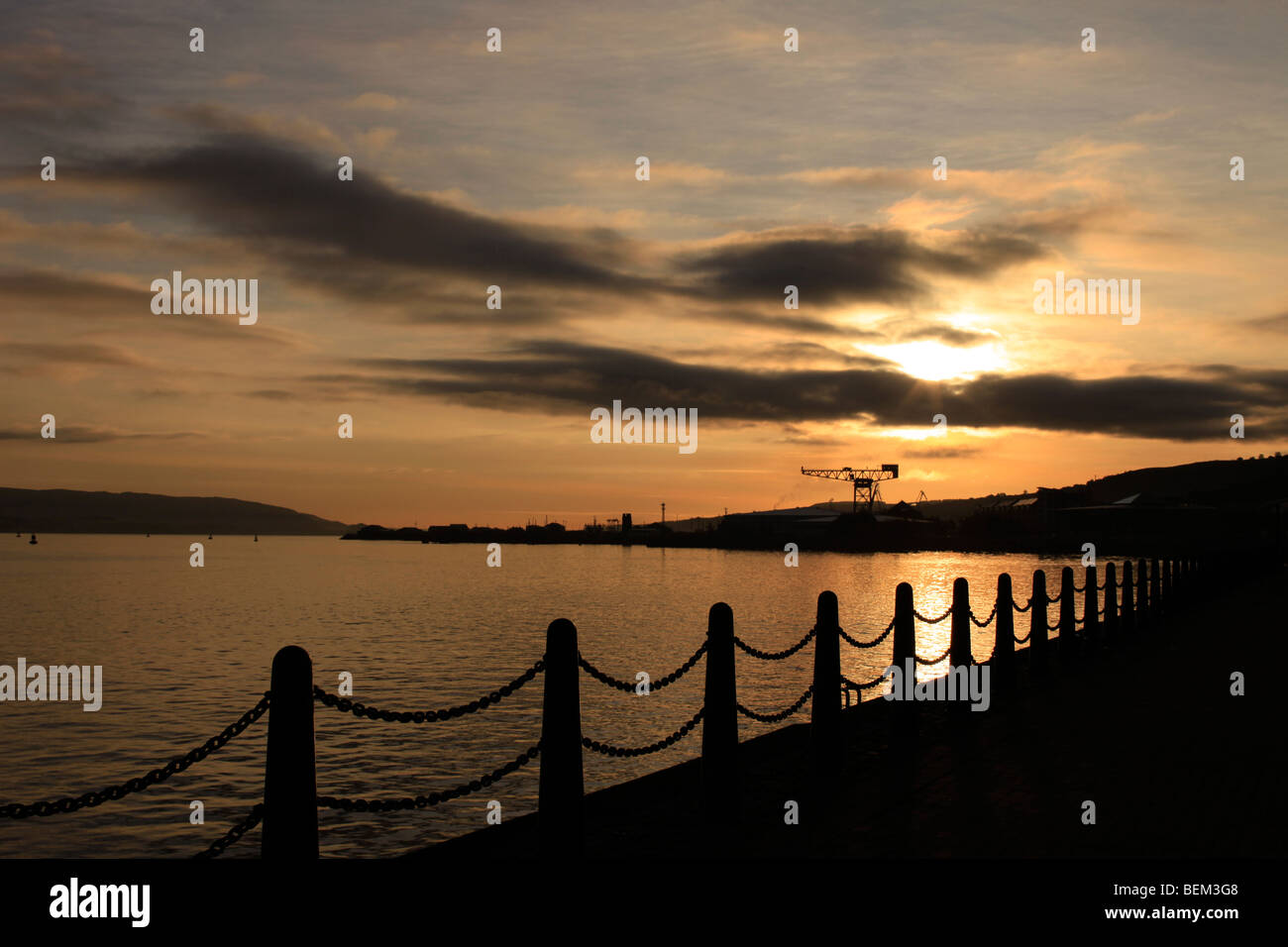 Sunrise to the east depicting the rich shipbuilding heritage of Greenock - Stock Image