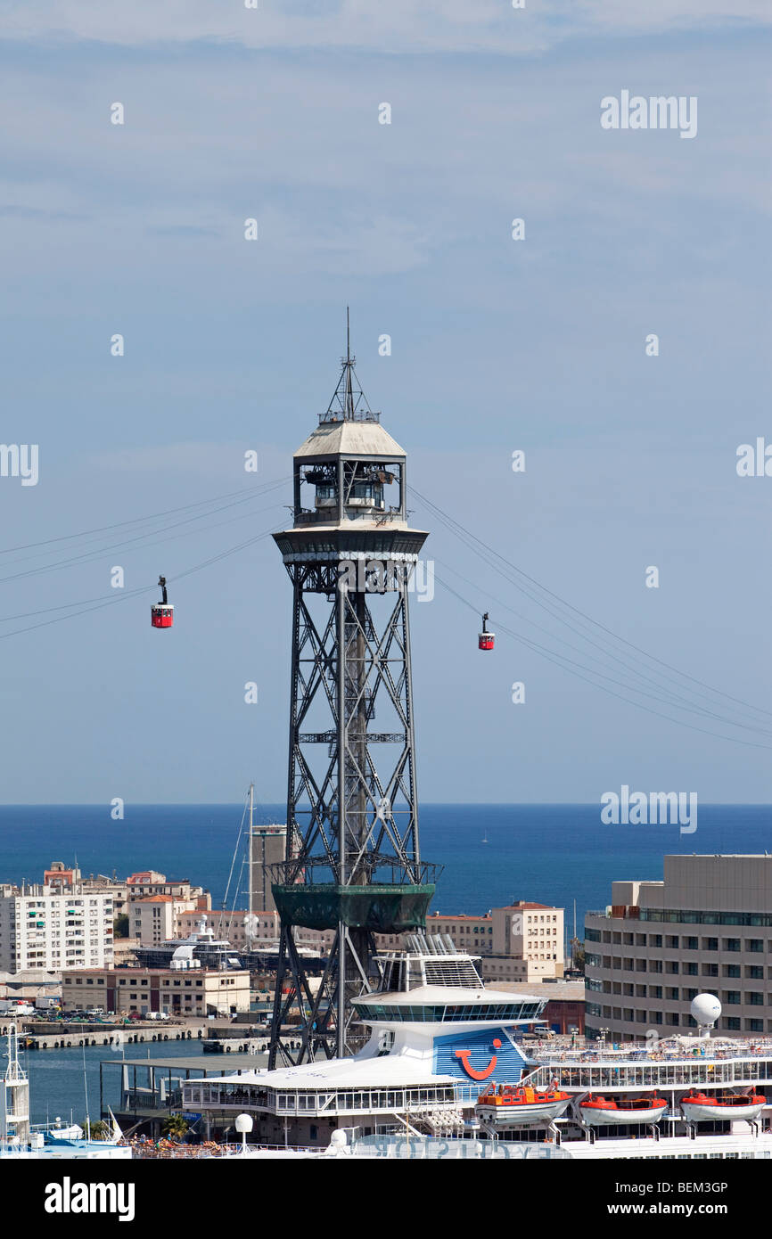Barcelona Port Vell harbour Torre Jaume I and world trade centre - Stock Image