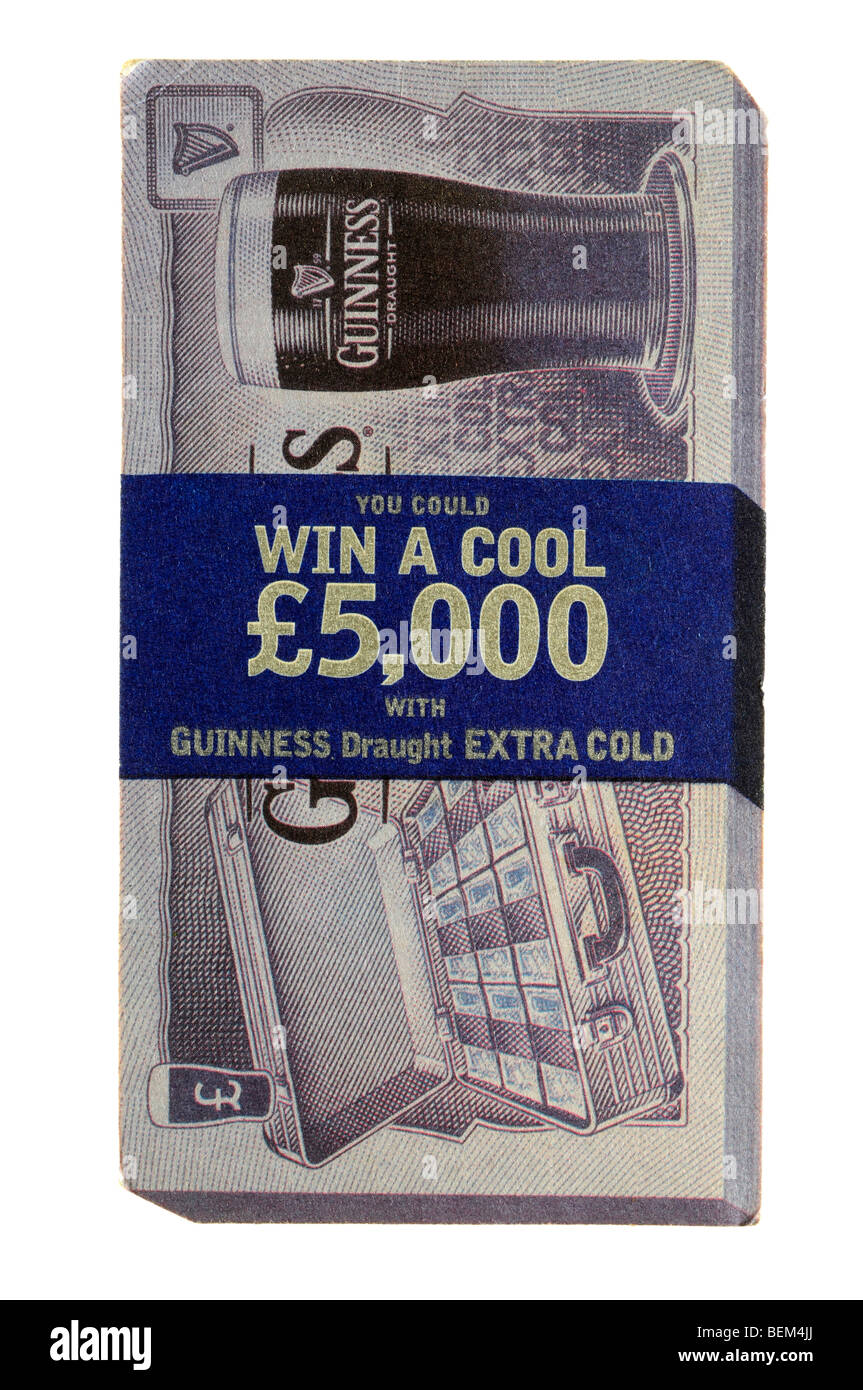 you could win a cool £5000 with guinness draught extra cold - Stock Image