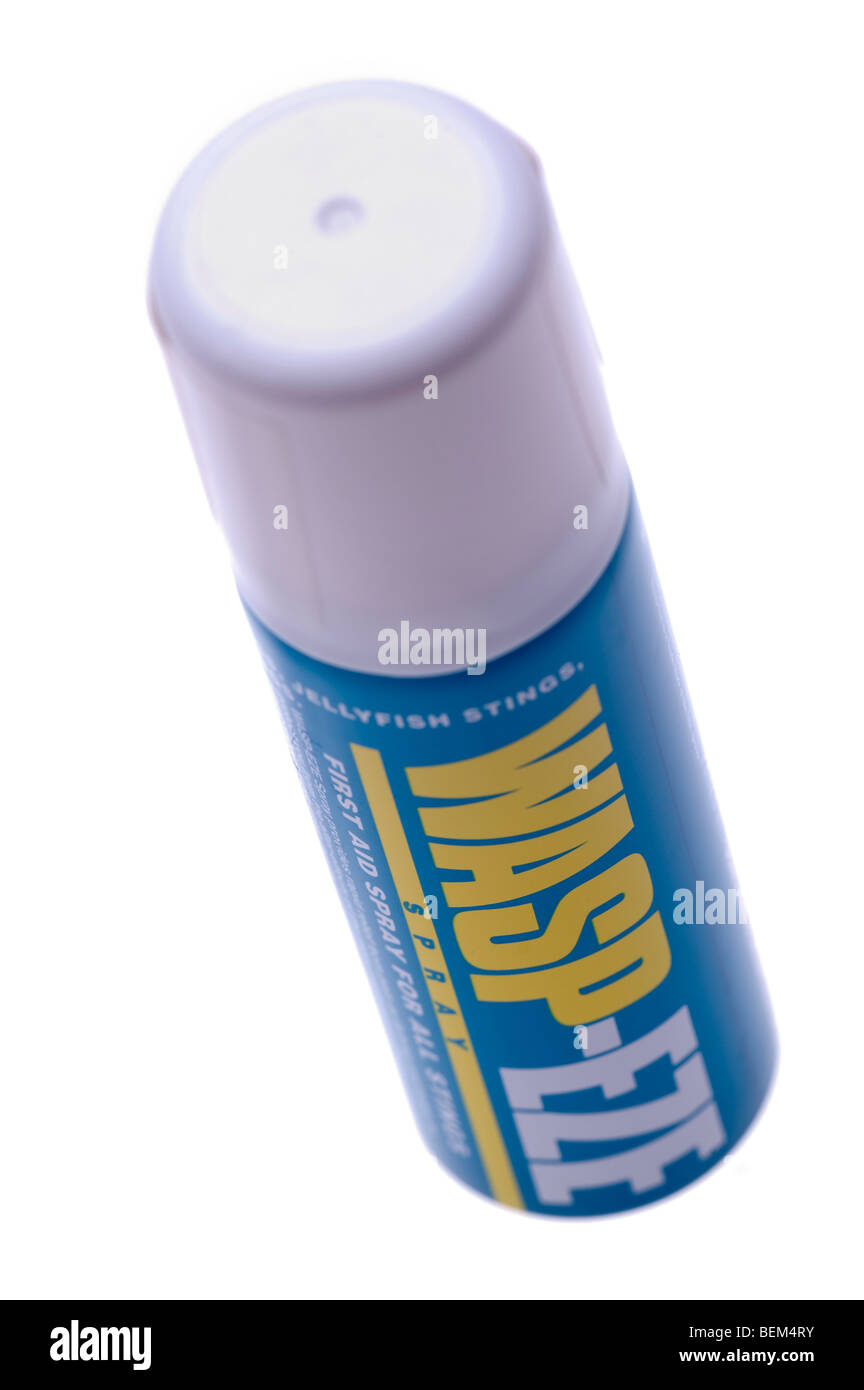 Spray can of Waspeze first aid for wasp, bee and jellyfish stings Stock Photo