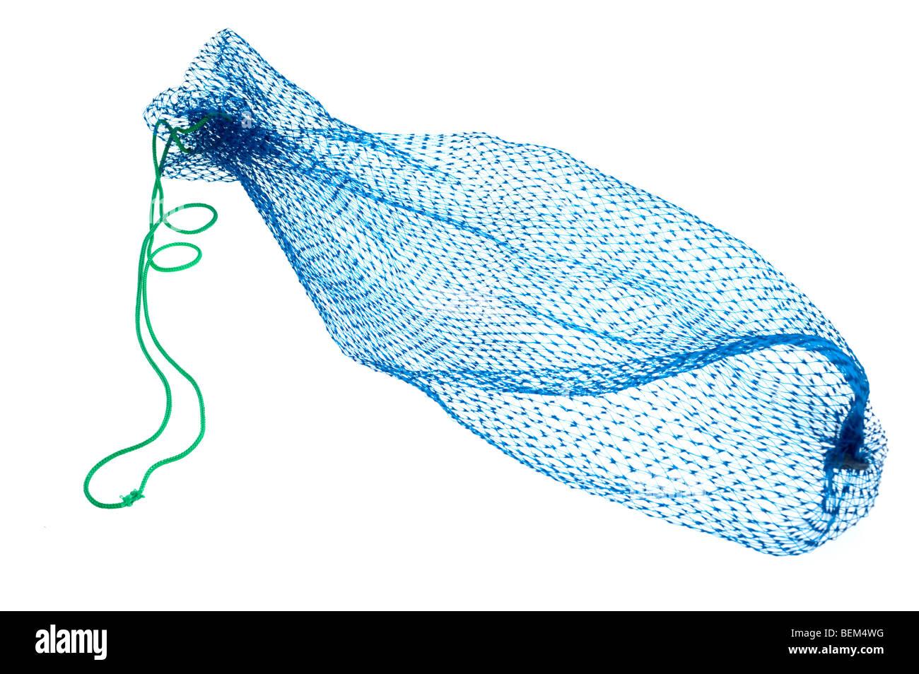 Blue nylon mesh net bag - Stock Image