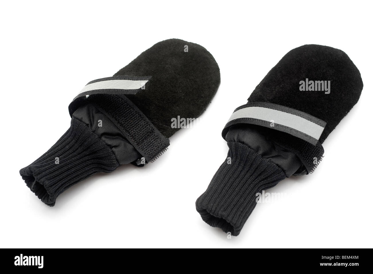 Two small size black Velcro fastening boots for protection for dogs paws - Stock Image
