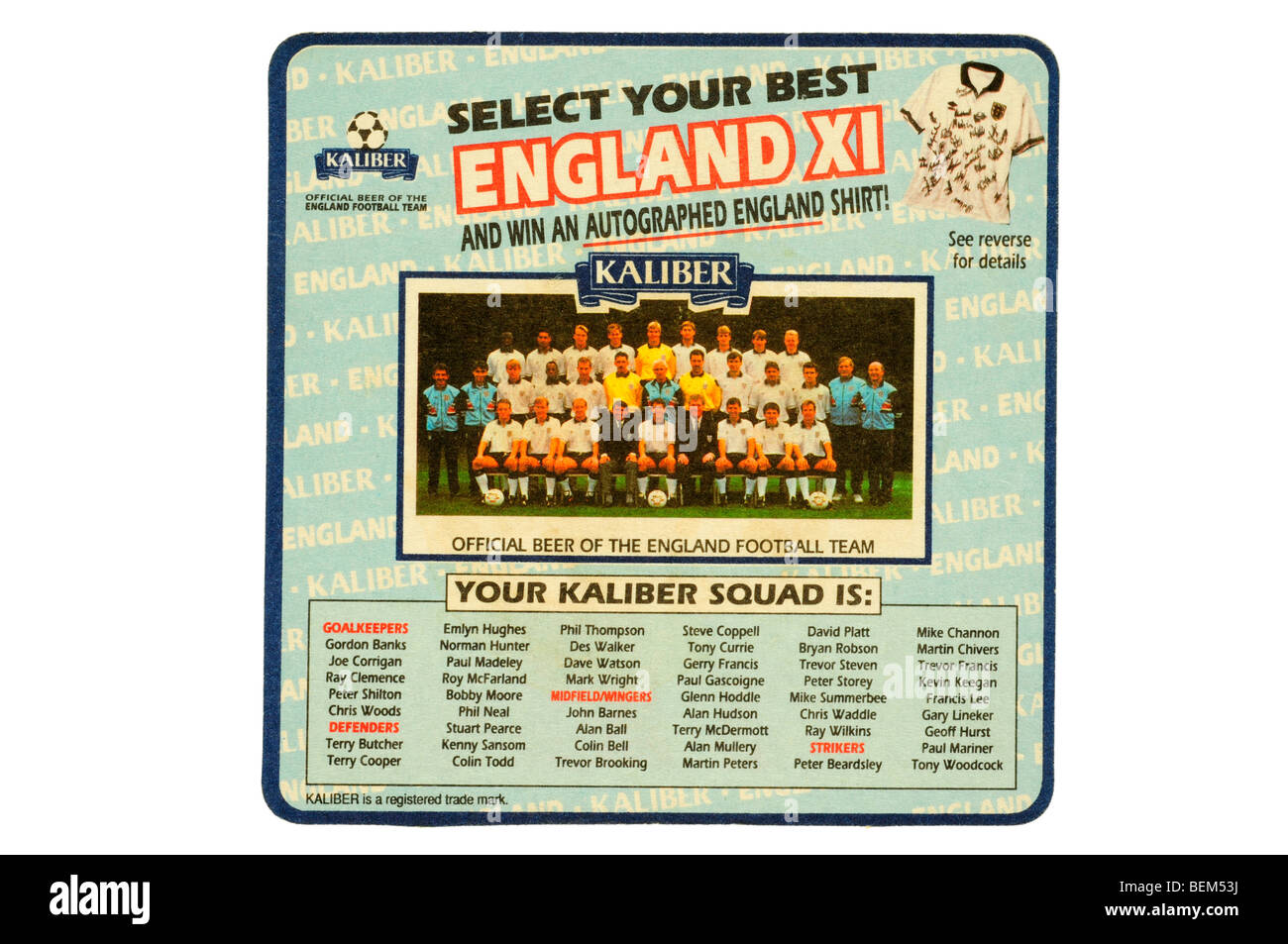 kaliber select your best england xi - Stock Image