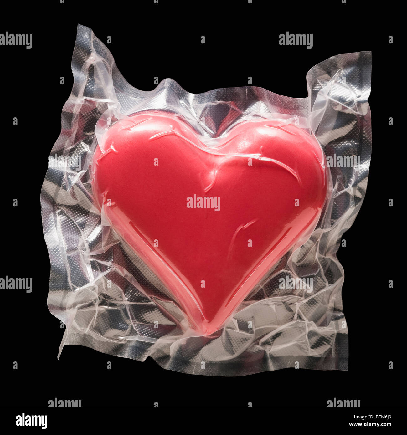 Shrink wrapped heart - Stock Image