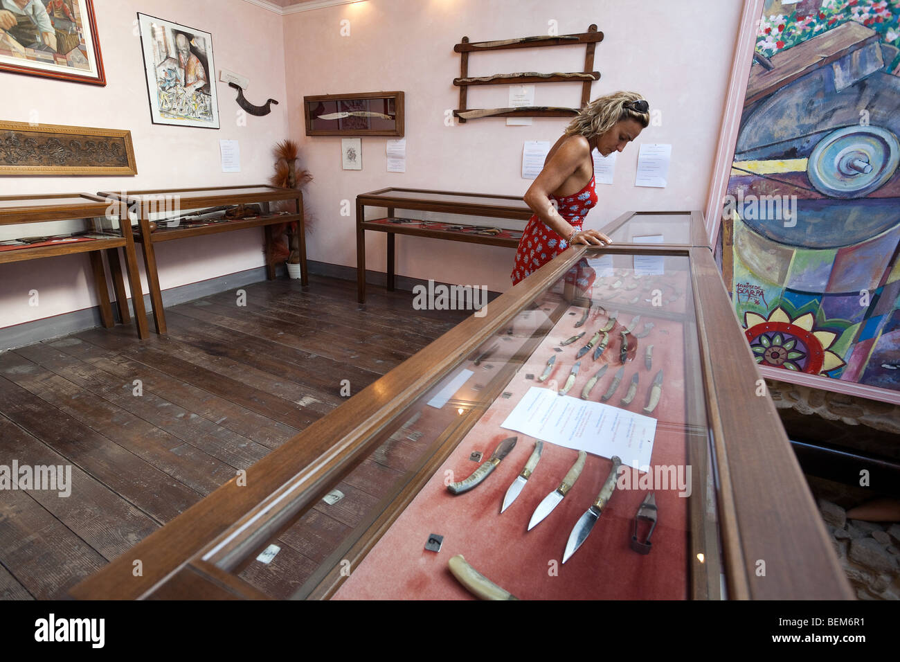 Woman in the knife's museum in Sardinia, Arbus - Stock Image