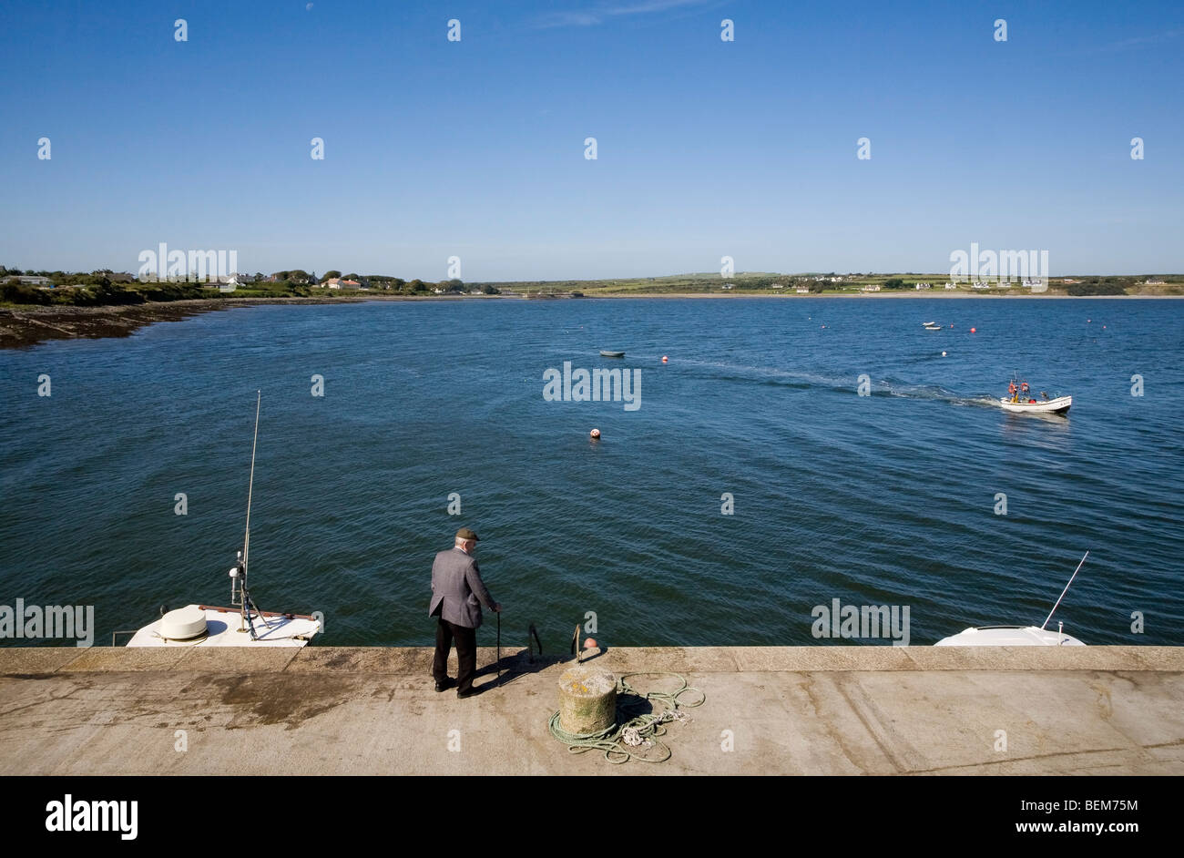 Old Man Watching Fishing Activity in Carrigaholt Fishing Harbour on the River Shannon, County Clare, Ireland - Stock Image