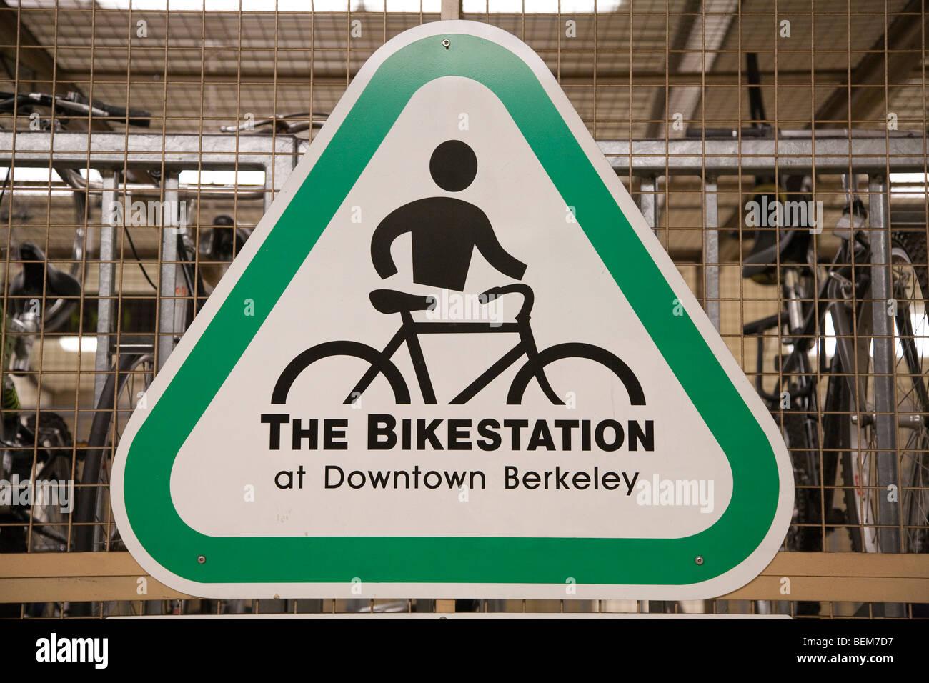 A Bikestation Sign at a Bikestation, Downtown Berkeley BART station. Berkeley, California, USA - Stock Image