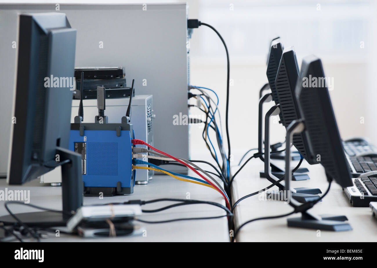 Networked computers - Stock Image