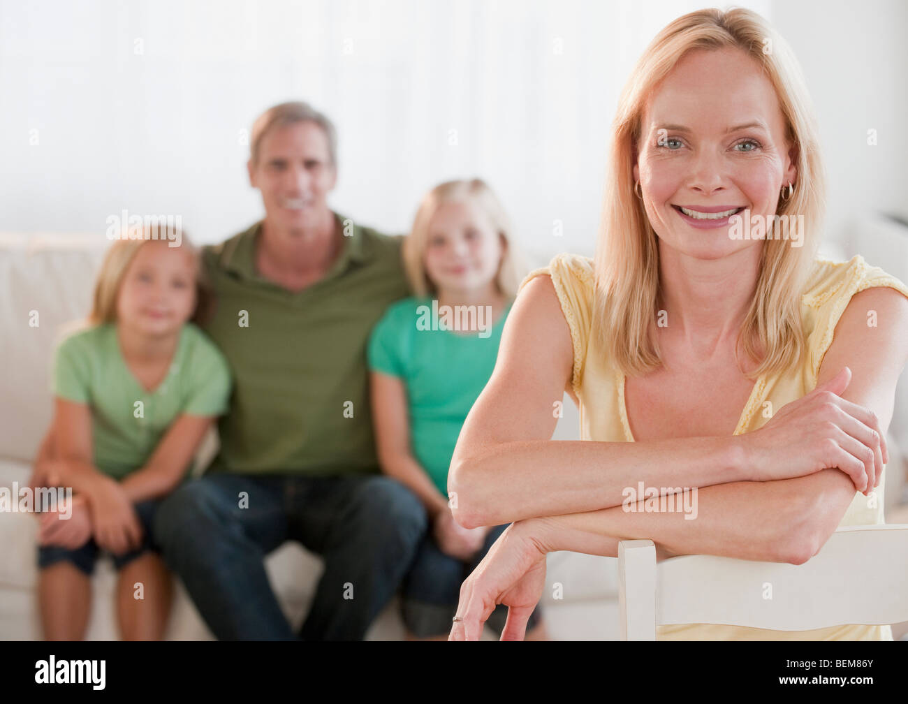 Family at home - Stock Image