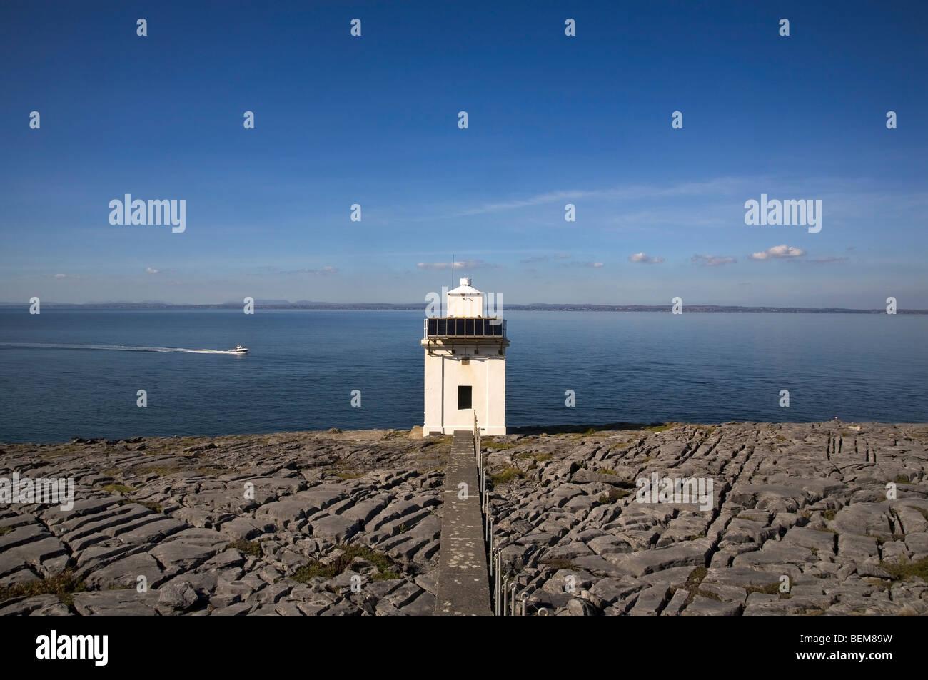 Blackhead Lighthouse overlooking Galway Bay, The Burren, County Clare, Ireland - Stock Image