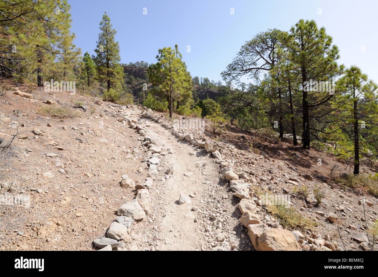 Rambling path in Teide National Park, Tenerife Spain - Stock Image