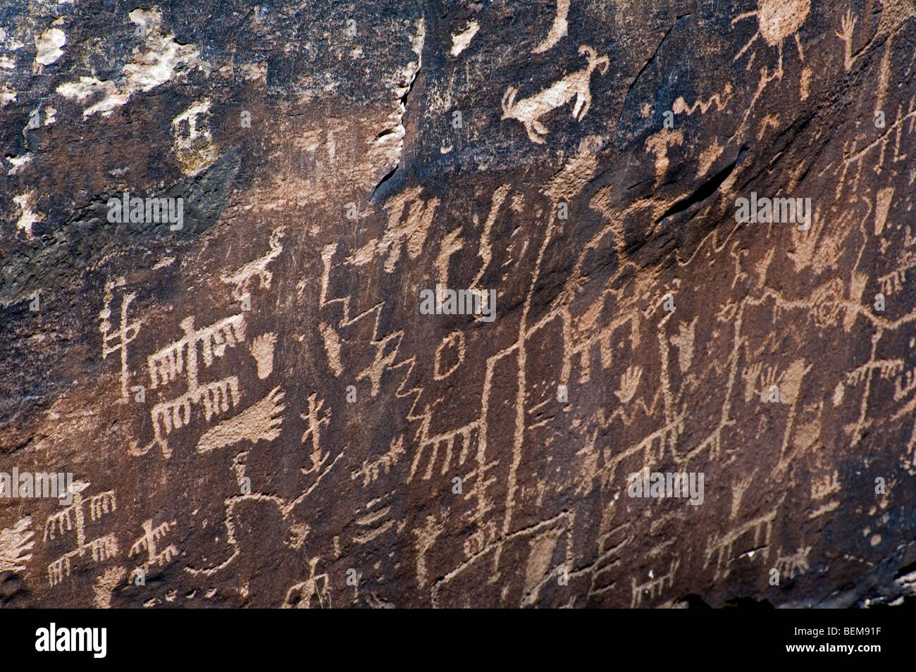Newspaper Rock showing Anasazi Indian petroglyphs in the Petrified Forest National Park, Arizona, US - Stock Image