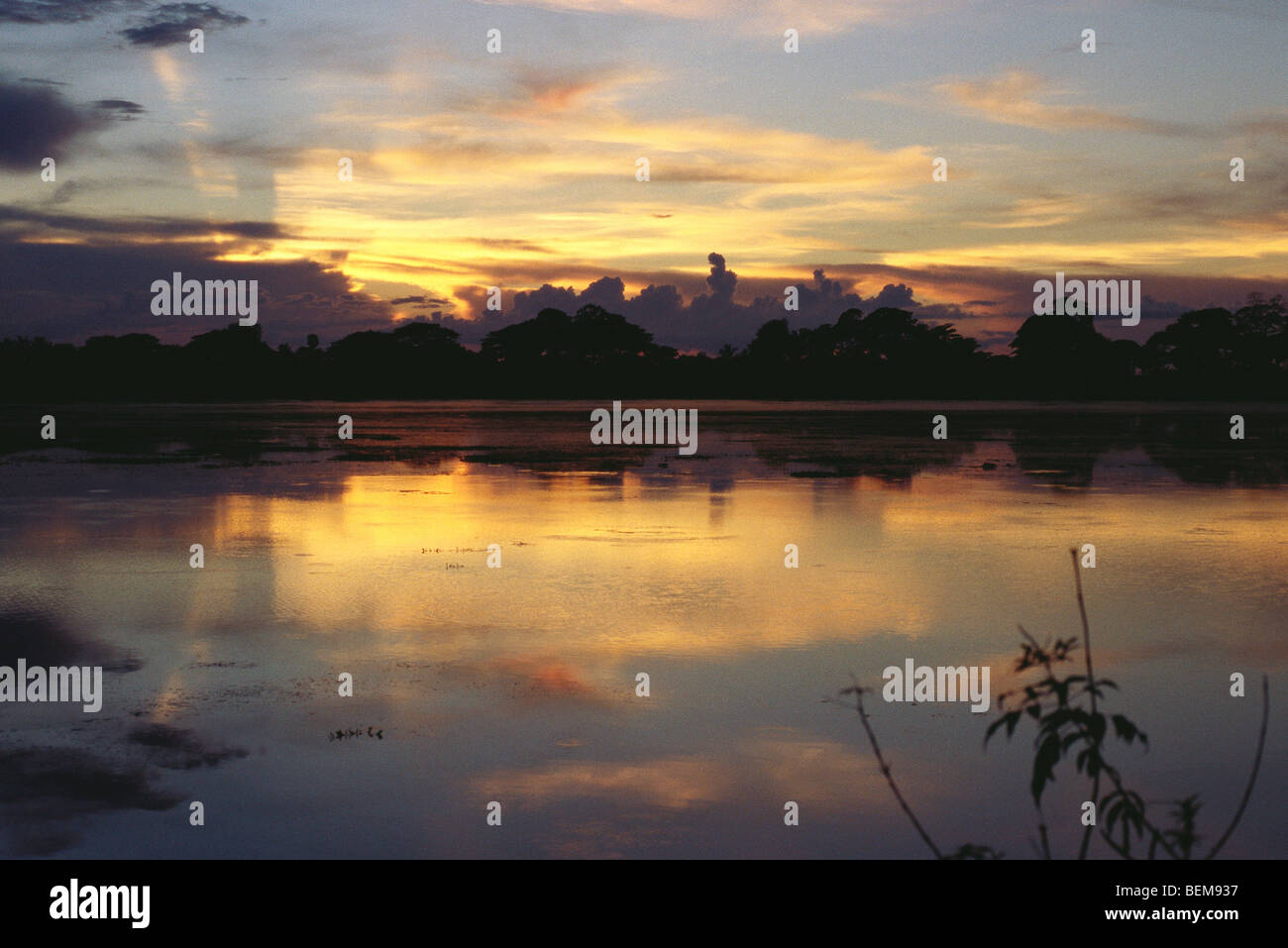 Myanmar (Burma), waterscape at sunset - Stock Image