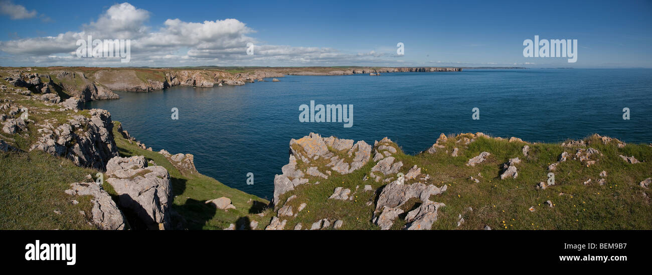 VIEW EAST FROM ST GOVANS HEADLAND, Pembrokeshire coast, West Wales UK - Stock Image
