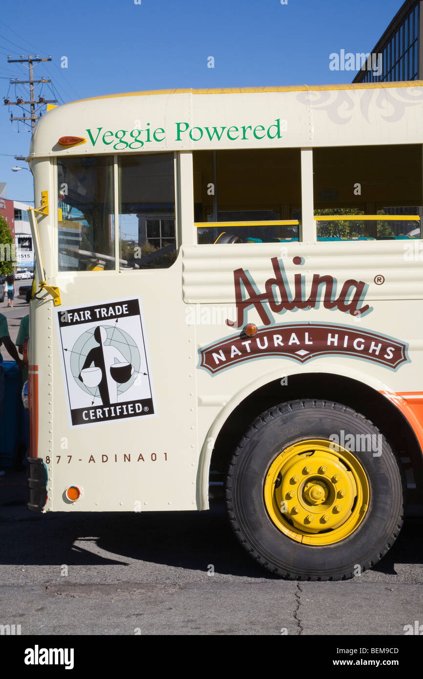 A close up of a vegetable oil powered tour bus outside the Green Festival, San Francisco, California, USA - Stock Image