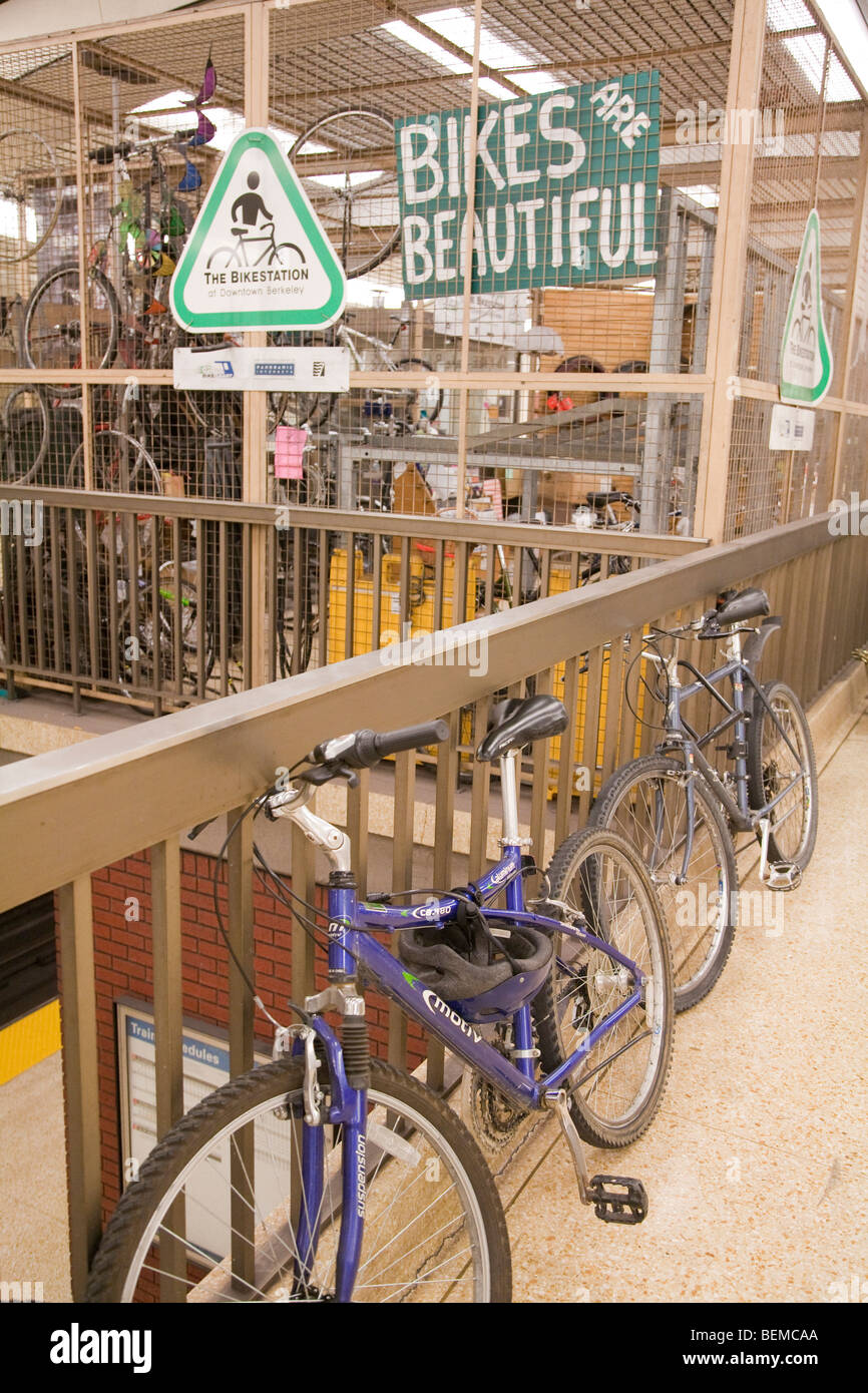 A bicycle storage above a BART station at Downtown Berkeley. Berkeley, California, USA - Stock Image