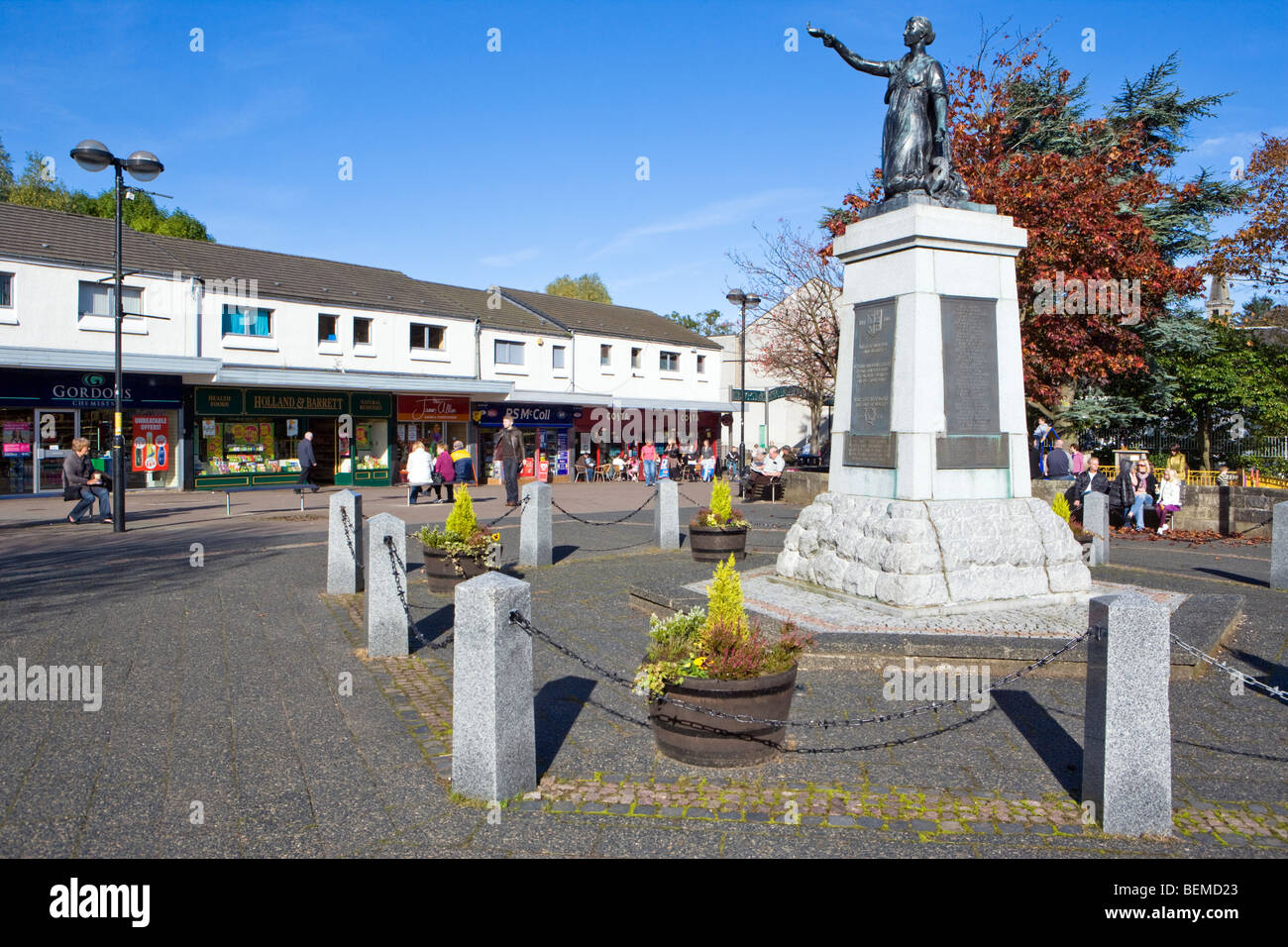 milngavie near glasgow in autumn at the start of the west highland way - Stock Image