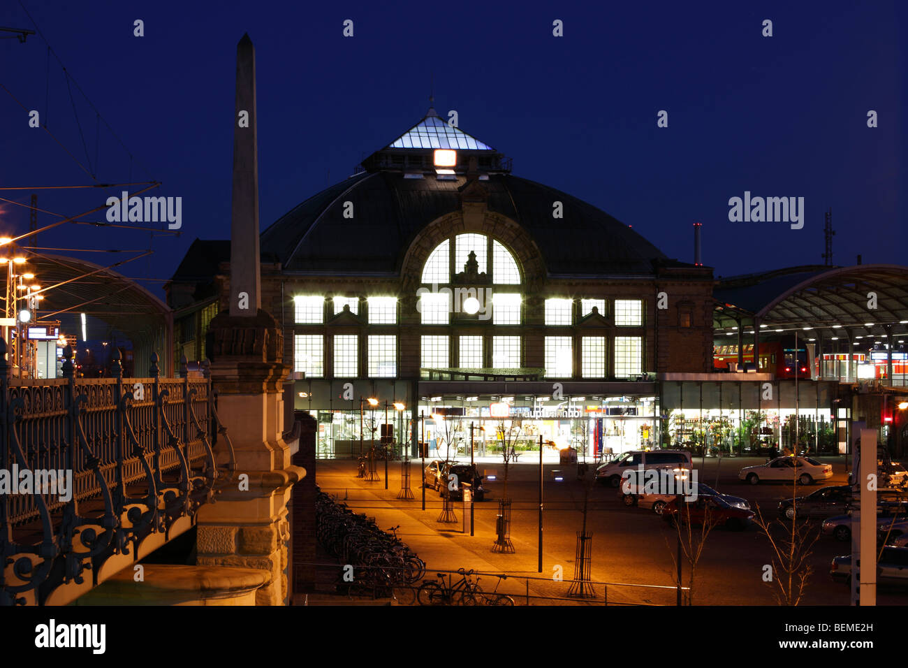 main station in Halle (Saale) at evening, Germany; Hauptbahnhof in Halle - Stock Image