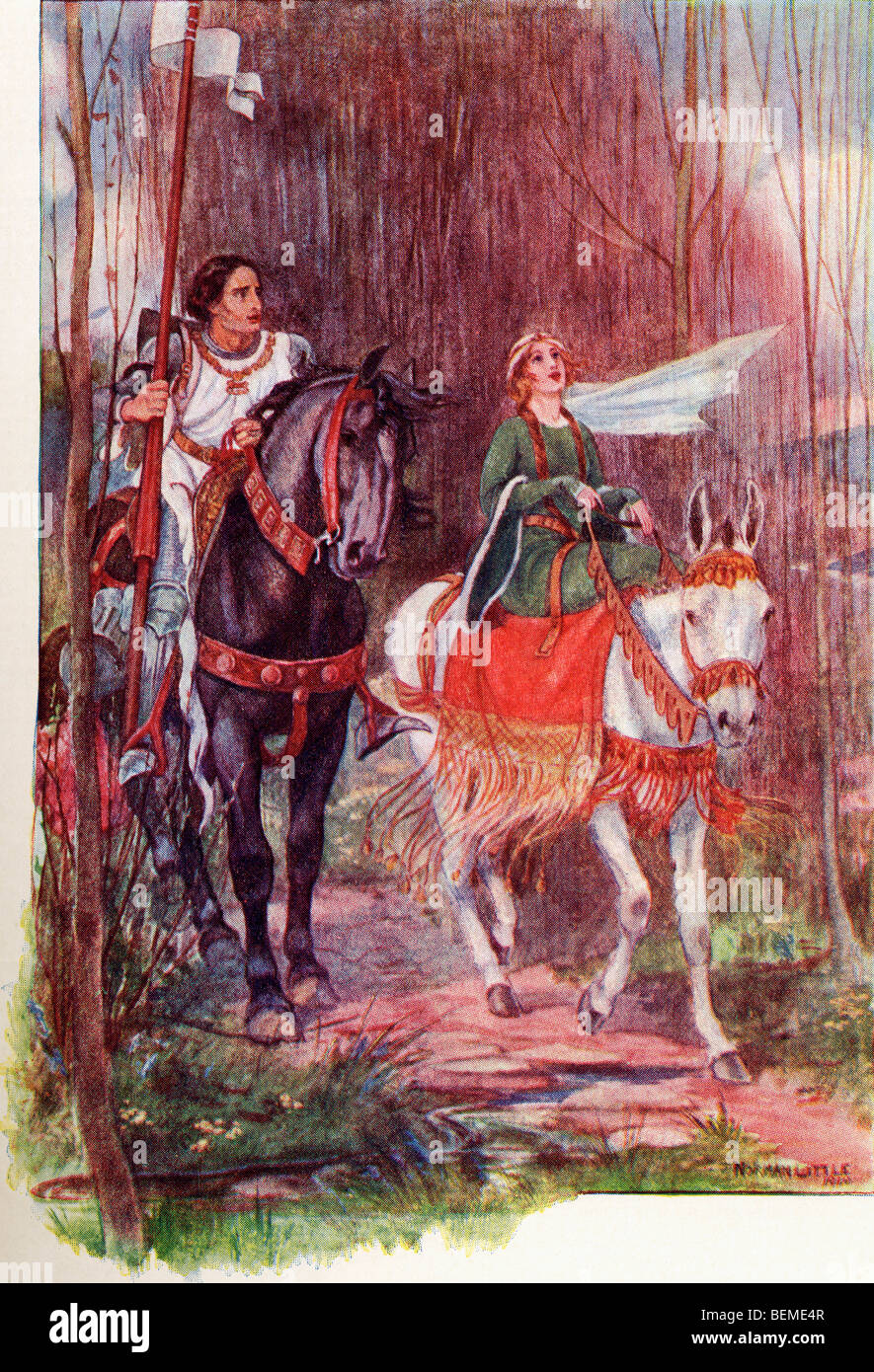 Sir Lancelot And Queen Guinevere Coloured Illustration