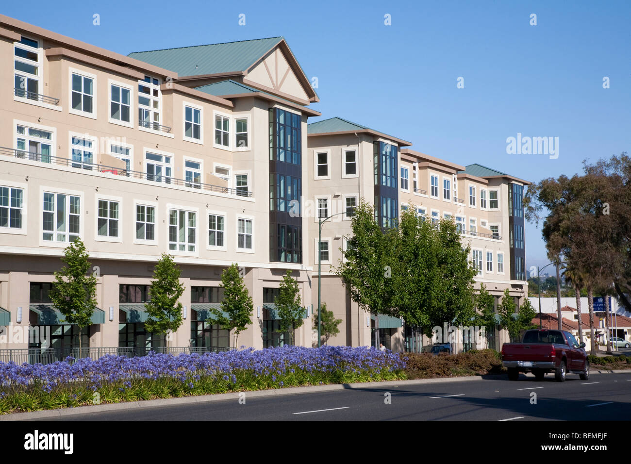 Mixed use housing development (multi use). Residential condominiums and office, retail space. Park Broadway, Millbrae, Stock Photo