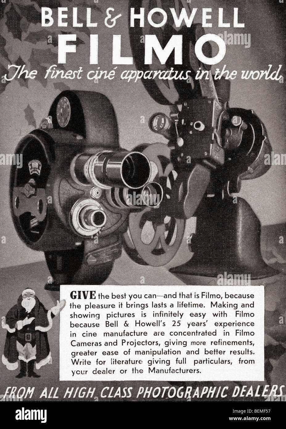 1930's advertisement for the Bell and Howell Filmo cine camera. From The Illustrated London News, Christmas - Stock Image
