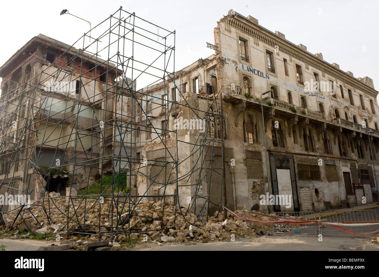 Hotel building collapsed through neglect, Casablanca, Morocco, Africa - Stock Image