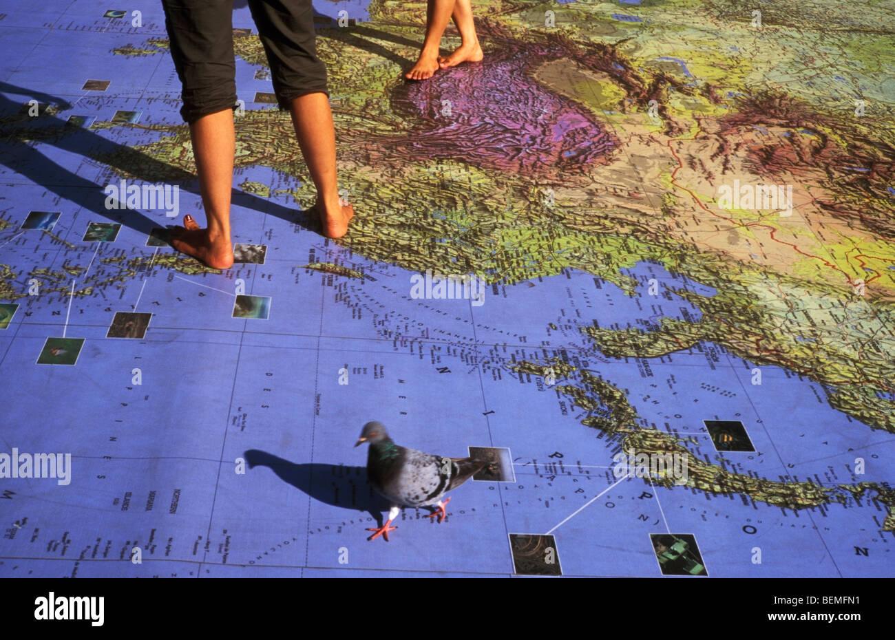 Oversized world map near the Abbey Bath Somerset UK Stock Photo ...