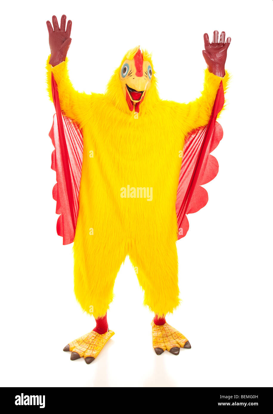 Man in a chicken suit with his hands up like heu0027s cheering. Full body isolated  sc 1 st  Alamy & Chicken Costume Isolated Stock Photos u0026 Chicken Costume Isolated ...