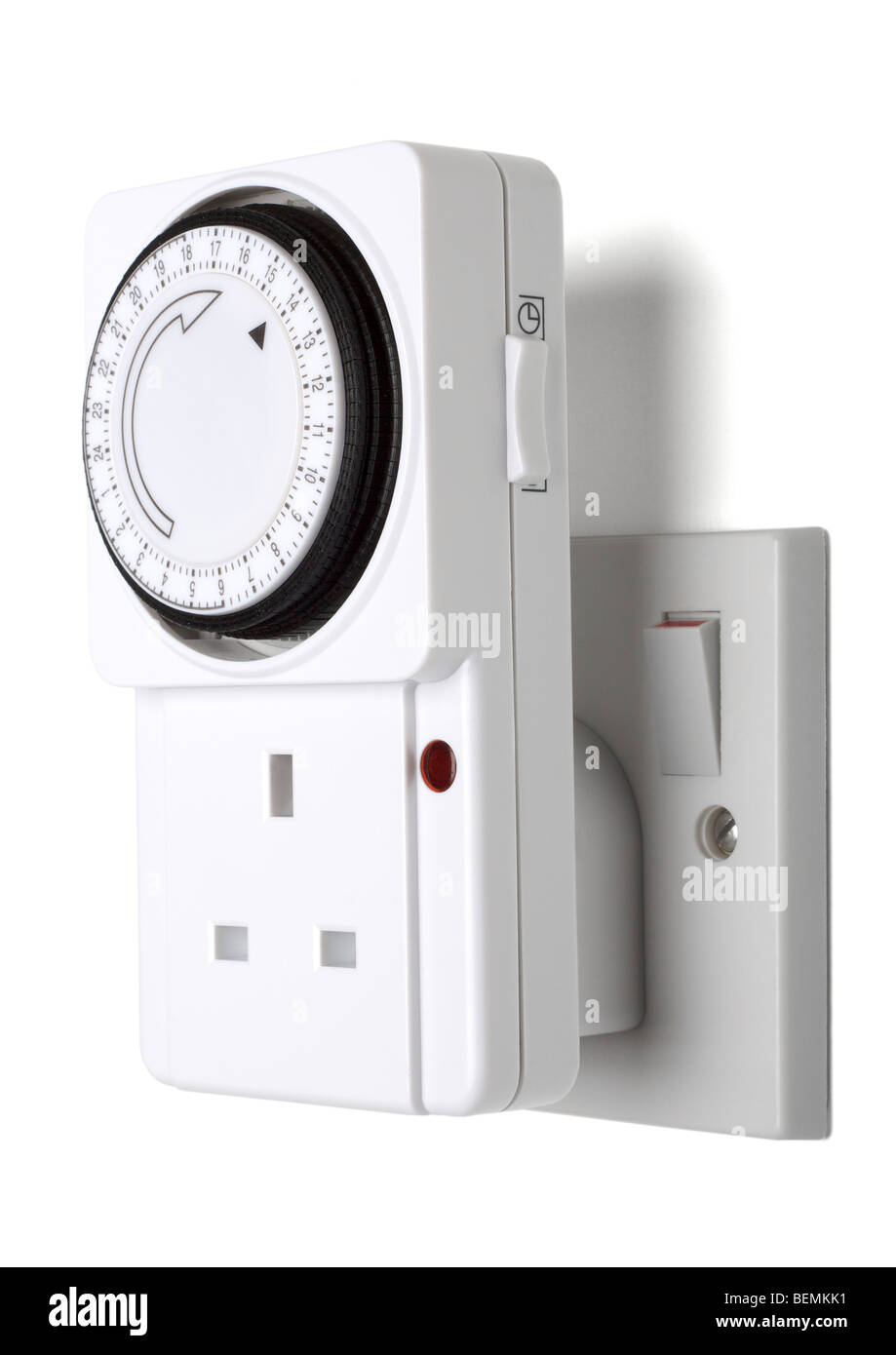 Timer plug on white background - Stock Image