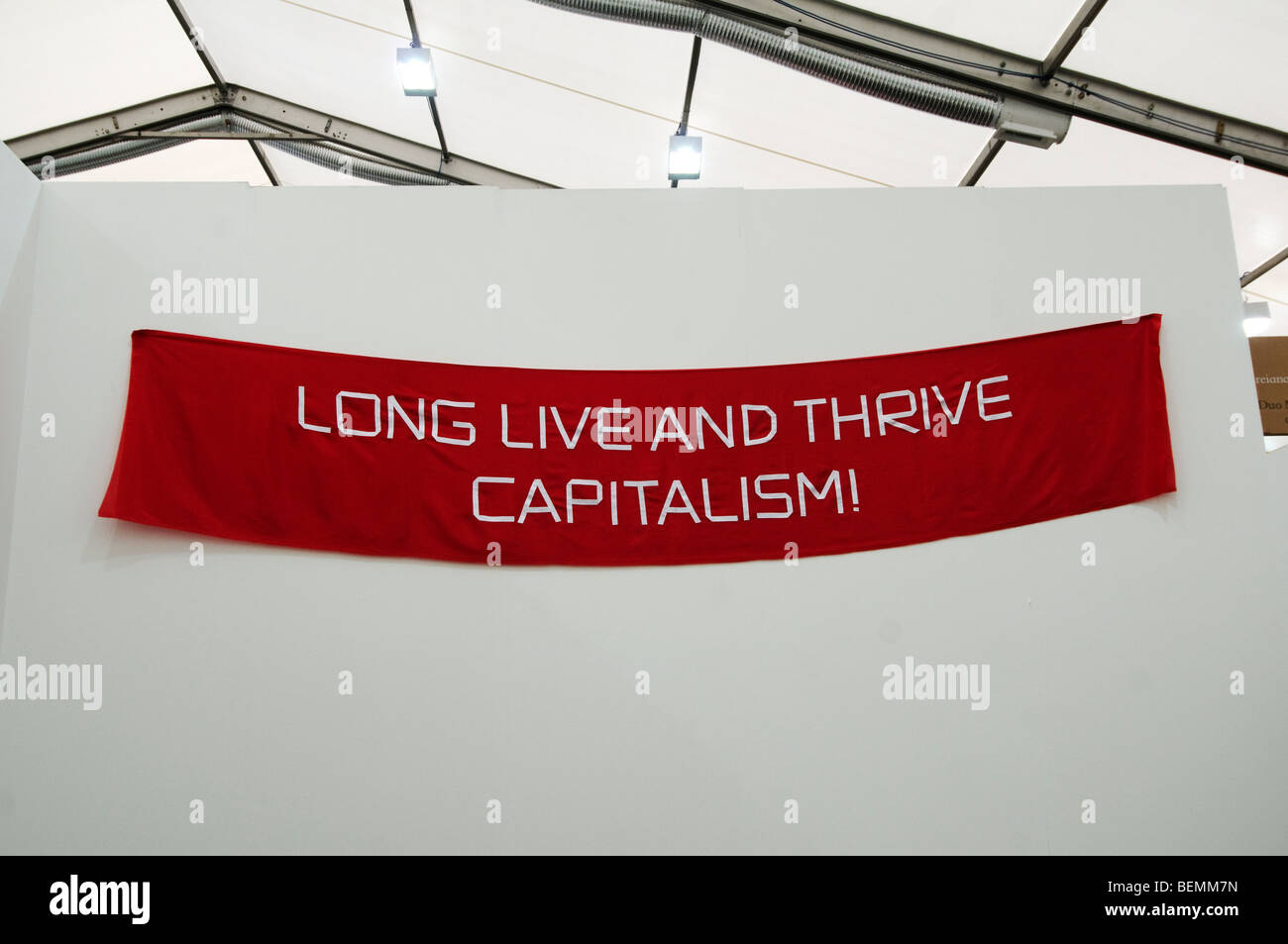 Frieze Art Fair 2009 Regents Park. Andreiana Mihail Gallery Bucharest. Installation Long live and thrive capitalism - Stock Image