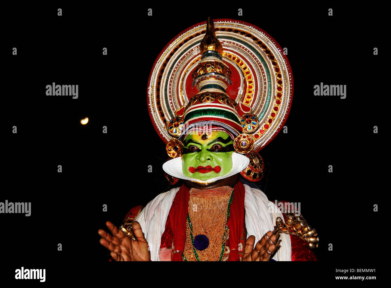 Kathakali is a highly stylised classical Indian dance-drama noted for its attractive make up,dressing - Stock Image