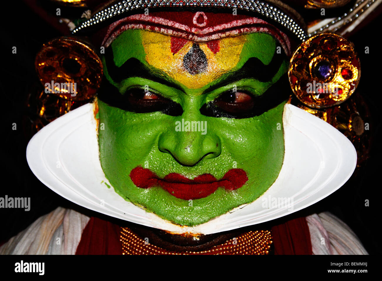 Kathakali Malayalam  a highly stylised classical Indian dance-drama noted for its attractive make-up ,elaborate - Stock Image