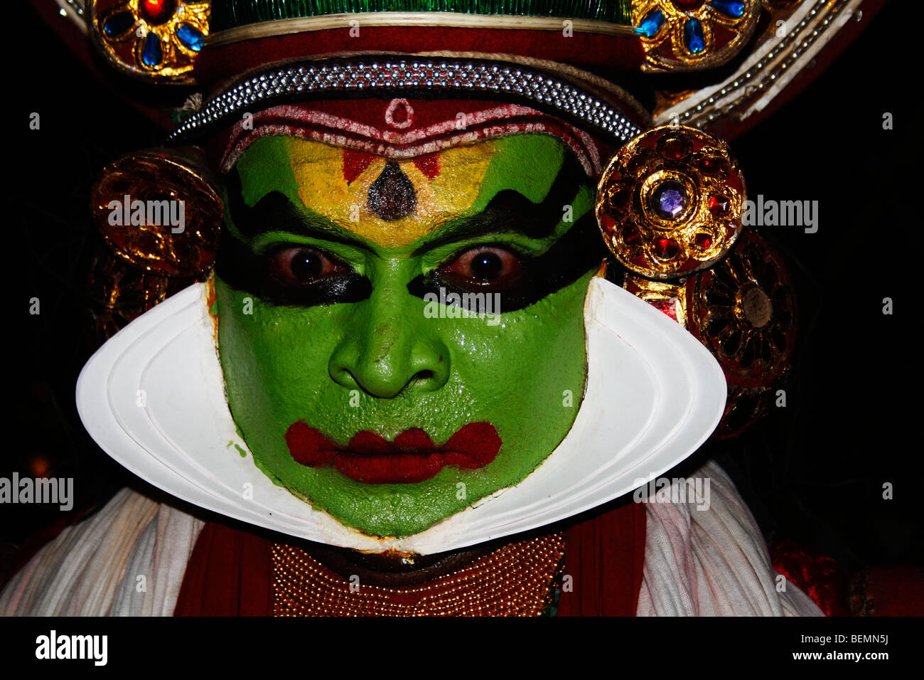 Kathakali  is a highly stylised classical Indian dance-drama noted for its attractive make-up ,elaborate costumes - Stock Image