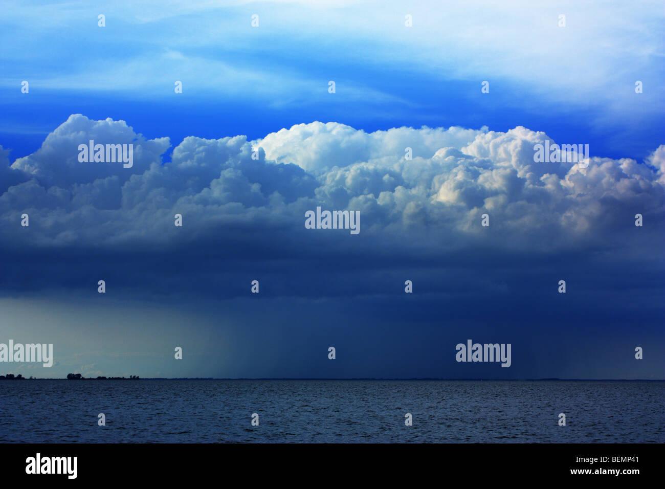 Cumulonimbus, heaped rain cloud, Baltic Sea, Germany - Stock Image