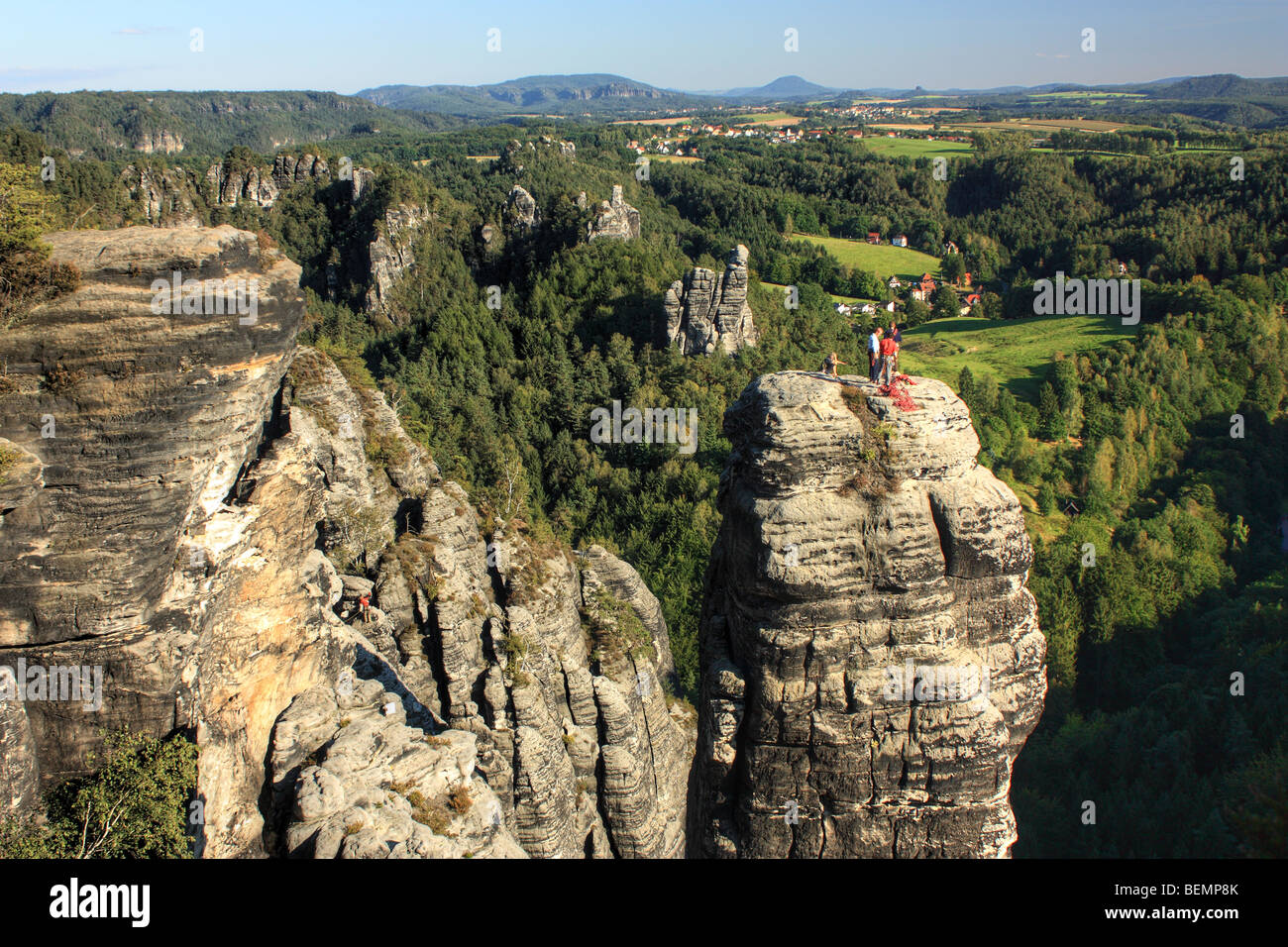 Scenery of the Elbe Sandstone Mountains, Saxon Switzerland National Park 40 kilometers south of Dresden, Saxony, - Stock Image