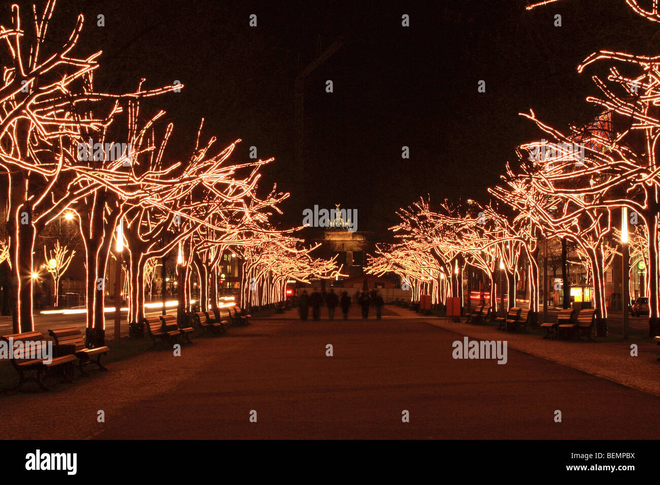 Christmas lights at the boulevard `Unter den Linden' in Berlin, with ...