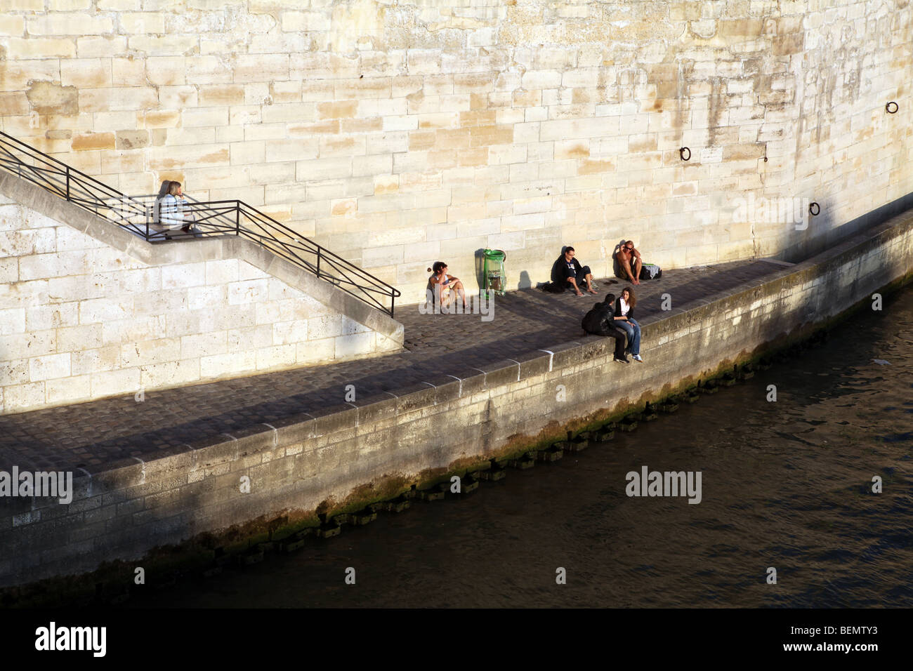 View of Quai d'Orleans from the Pont Saint Louis - Ile Saint Louis - Paris - France - Stock Image