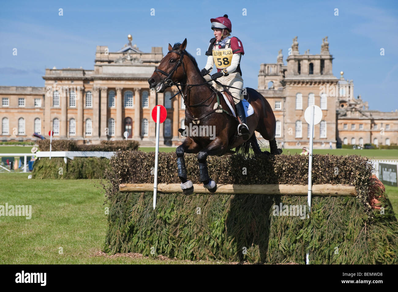 A competitor jumps a fence during the 2009 Blenheim horse trials, Blenheim Palace, Woodstock, Oxfordshire, England, - Stock Image