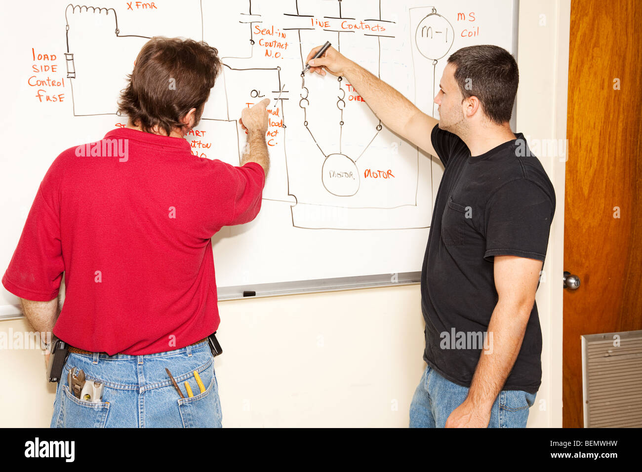Electrical Circuit Diagram Stock Photos Schematic Diagrams Engineer Wiring And Engineering Student Learns How To A Image