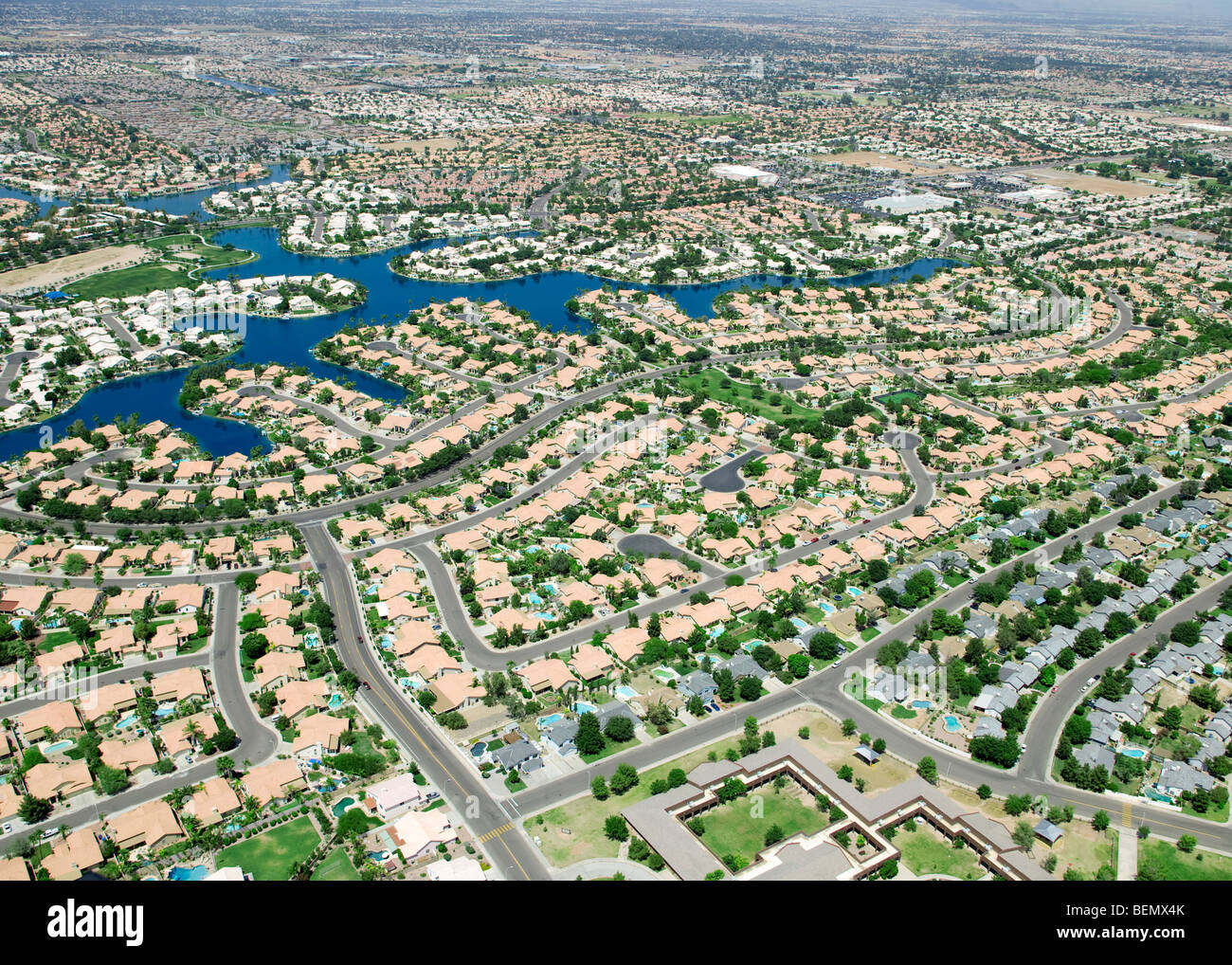 Aerial View Of An American Suburb Stock Photo 26275107