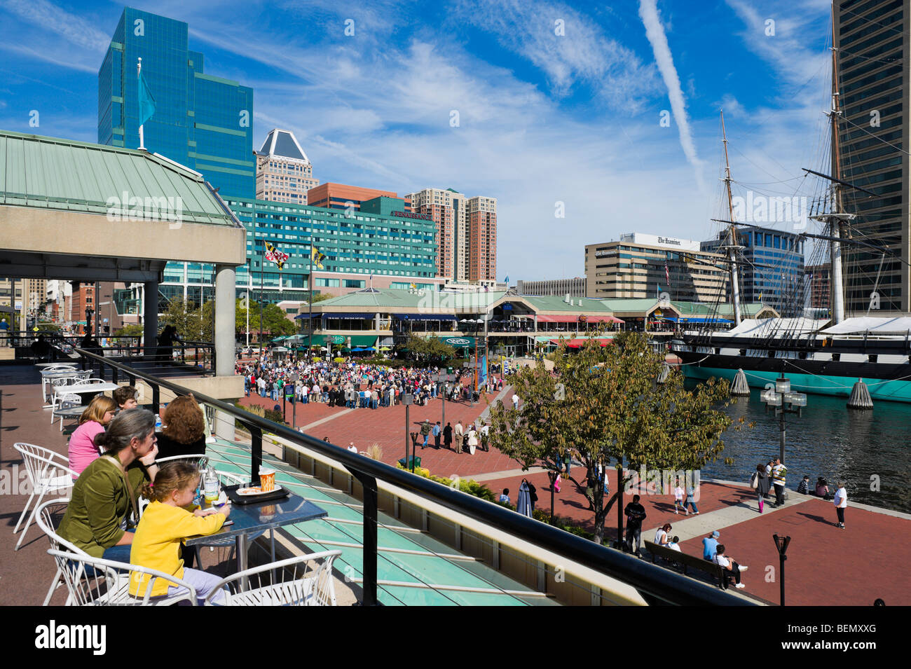 Cafe overlooking Harborplace, Inner Harbor, Baltimore, Maryland, USA - Stock Image