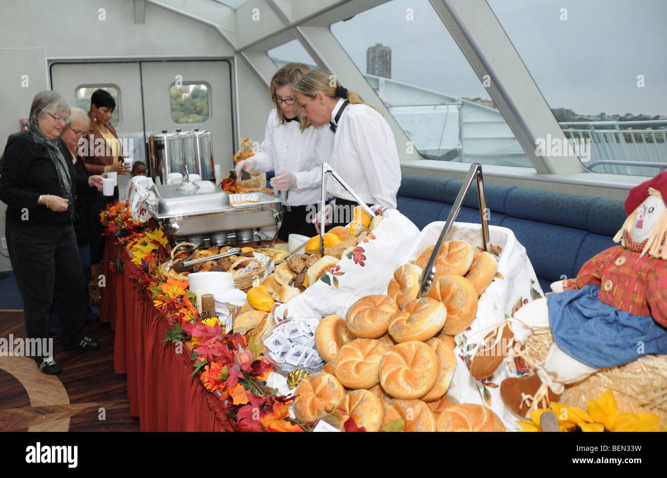 Brunch during a fall foliage cruise up the Hudson River from New